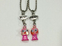 Bff Best Friend Pink Gumball Machine Google Eyes Charm 2 Necklaces, 2 Pendants