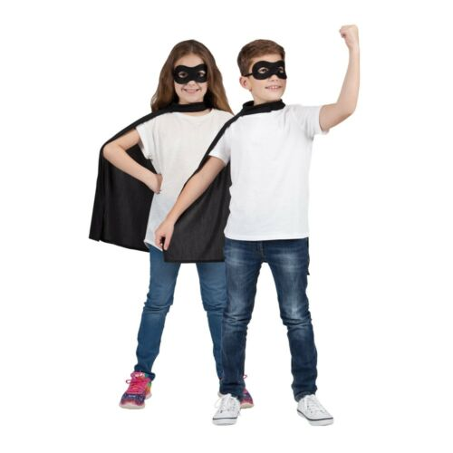 Super Hero Cape /& Eyemask Back Blue Green Red Pink Kids Childs Fancy Dress
