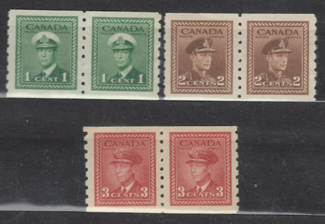 1942 #263 1¢ #264 2¢ &  #265 3¢ VI WAR ISSUE COIL(PERF 8.0) PAIRS F-VFNH