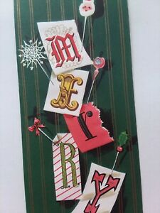 UNUSED-Mid-Century-Word-Letter-Art-MERRY-Vtg-Embossed-CHRISTMAS-GREETING-CARD