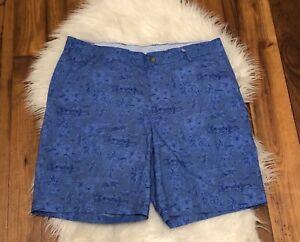 Peter-Millar-Mens-Seaside-Hualalai-Shorts-Blue-Flat-Front-Floral-Size-34-EUC