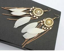 """4"""" GOLD TONE DROP CHAIN WHITE BEAD AND WHITE  FEATHER  METAL OVAL EARRINGS"""