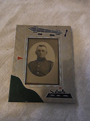 Antique German WWI WW1 Picture Frame with Zeppelin & Battleship #R