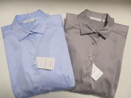 Eterna 5352 dy44 Slim Fit élégante manches longues chemisier bleu clair ou gris satin