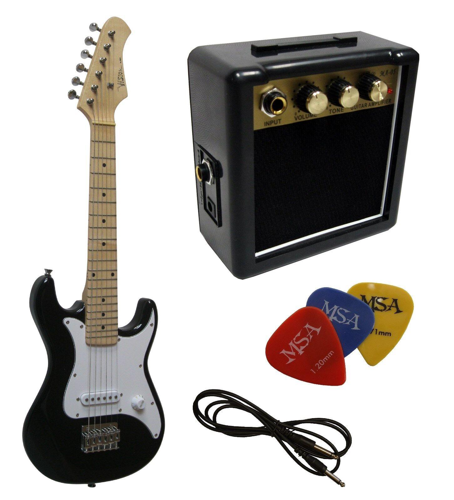 E-Gitarre für Kinder Mini 76cm - schwarz - Kabel+ Verstärker MA05 + 3Pik + EK300