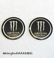 2x Motorcycle 2'' Monster Energy Gas Tank Emblems Decals For Yamaha Honda Suzuki