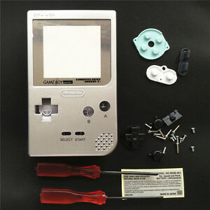 Silver-Housing-Shell-Case-amp-Silver-Lens-For-Nintendo-Game-Boy-Pocket-GBP