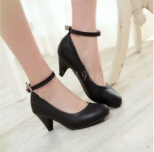 New-Women-039-s-PU-Leather-Round-Head-Ankle-Strap-Mary-Janes-Shoes-Heels-Pumps-Shoes
