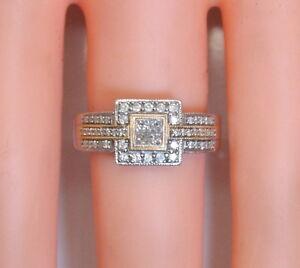 14K-White-Yellow-Gold-50-Ct-TW-Princess-Cut-Diamond-Cluster-Ring-size-5-3-4