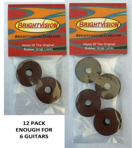 Twelve BROWN Rubber Guitar Strap Locks - Grolsch Style - Classic and Reliable