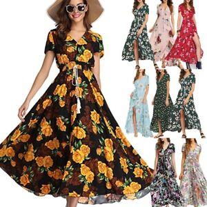 Women-Floral-Sexy-Button-Up-Split-Flowy-Evening-Party-Beach-Bohemia-Maxi-Dress