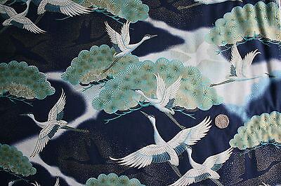 Oriental Cranes on Blue fabric fq 50 x 56 cm Nutex 89500-1 100/% Cotton