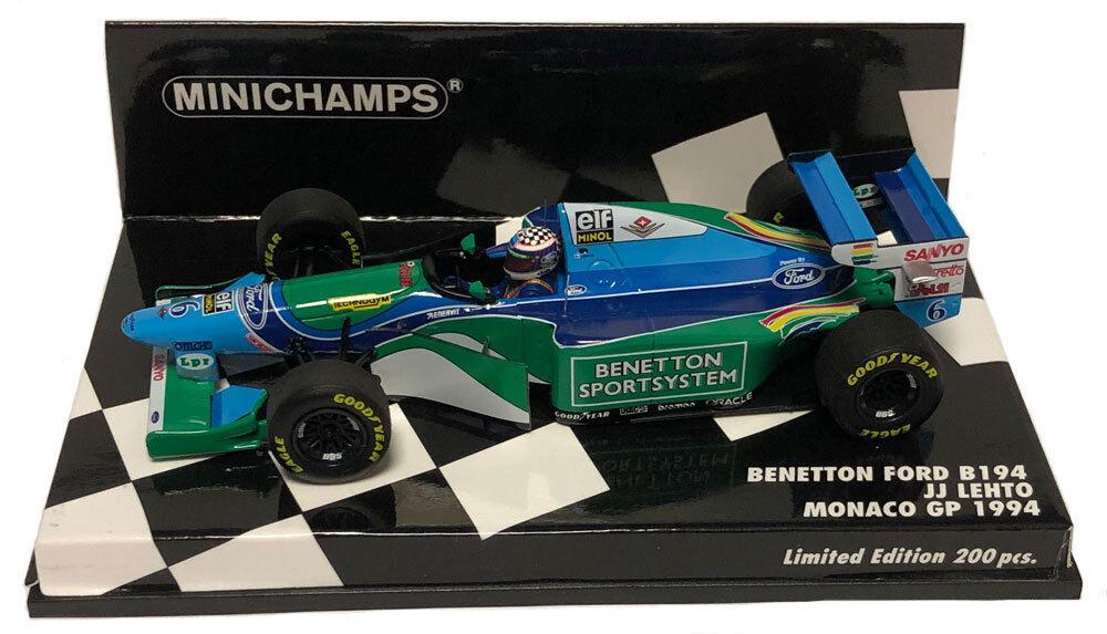MINICHAMPS BENETTON  B194  6 Monaco GP 1994-J J Lehto échelle 1 43  livraison directe et rapide