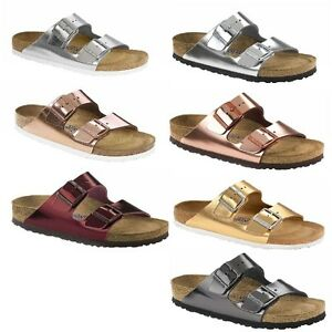 a726b376dff7 Image is loading Birkenstock-Arizona-Metallic-Mens-Womens-Sandals-Smooth- Leather-