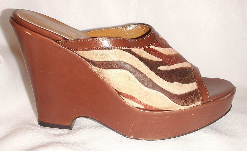 ISABELLA FIORE Surge CALF HAIR   LEATHER Platform Wedge Heels schuhe  345 NIB 7 M