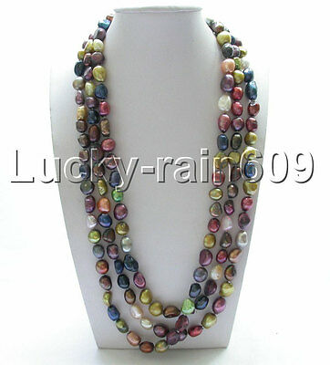 """Genuine length 63"""" 12mm baroque Multicolor freshwater pearls necklace e1594"""