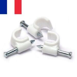 Lot de 50 Supports Muraux Blancs 8 mm Accroche Câble Fixation Murale Clou