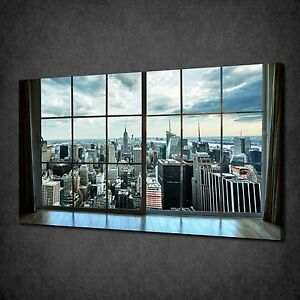 Image Is Loading MANHATTAN WINDOW VIEW NEW YORK CITY CANVAS WALL