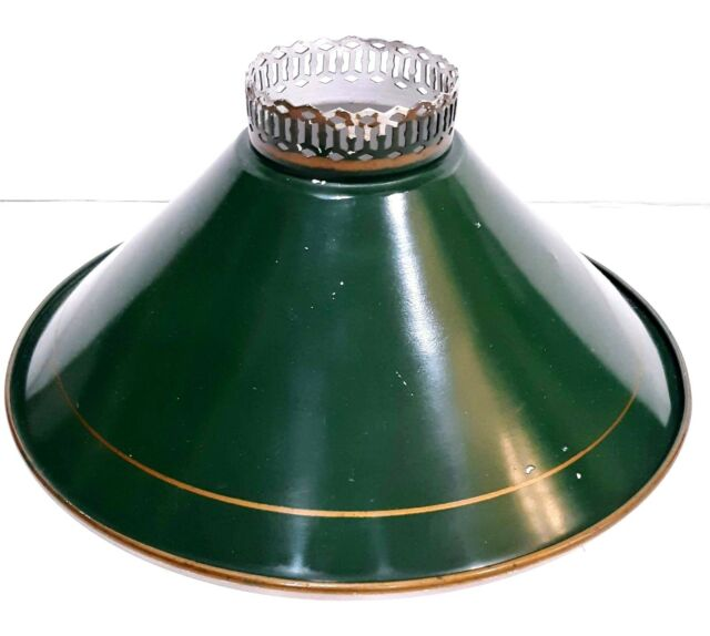 VINTAGE GREEN PAINTED METAL STUDENT LAMP CHIMNEY SHADE WITH WHITE INTERIOR