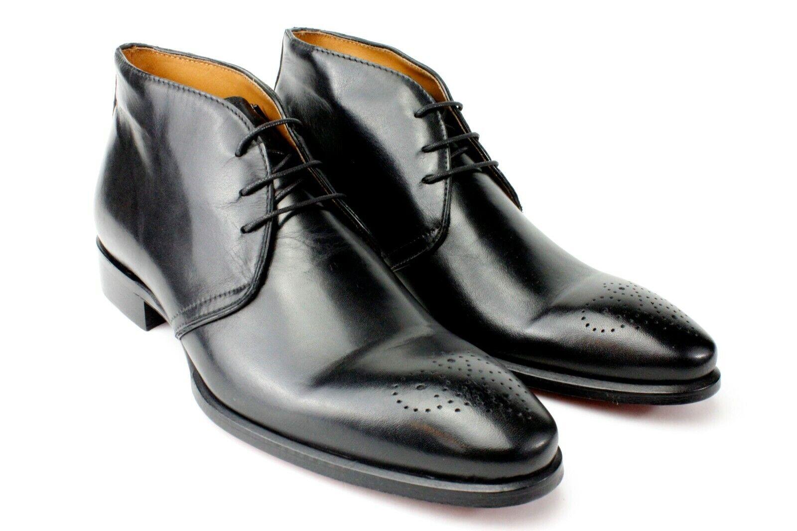 Ivan Troy Andre Negro Hecho a Mano Cuero Italiano Vestir para hombres de arranque arranque botas al tobillo