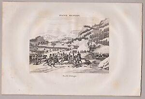 Murgtal-Schlacht-bei-Malsch-d-039-Etlingen-Stich-Kupferstich-von-Couche-1835