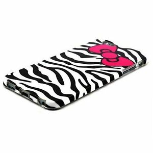 For-iPhone-6-6S-HARD-RUBBER-GUMMY-SKIN-CASE-COVER-BLACK-ZEBRA-HELLO-KITTY-BOW