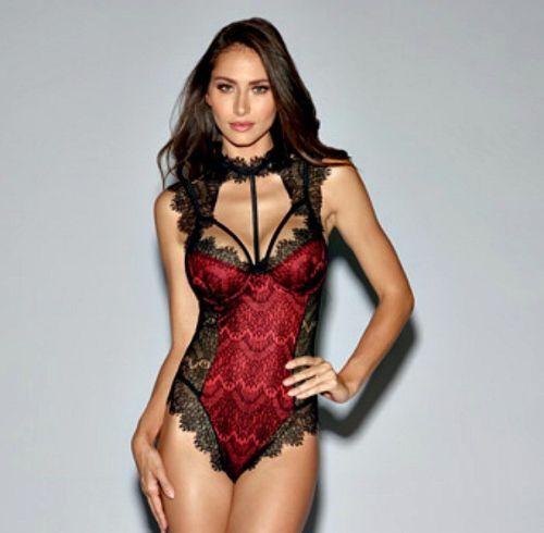 d16fcb0be69ee Lingerie Teddy Bodysuit Satin Underwire Cups Lace Tie Collar Black Red Medi  for sale online | eBay