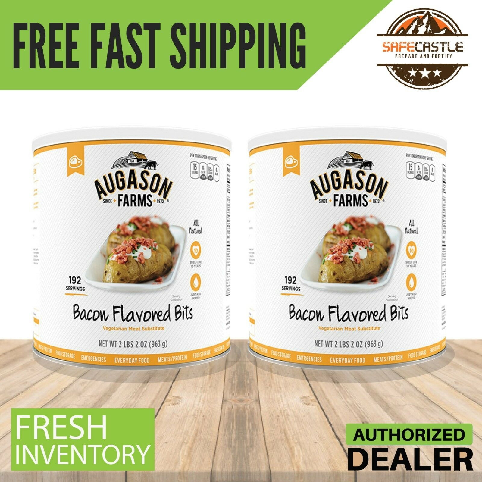 Augason Farms 384 Serv BACON FLAVORED BITS Vegetarian Meat Substitute 2xCan