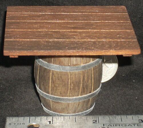 Dollhouse Miniature Western Wooden Barrel Table 1:12 #WO1924 Mexican Import