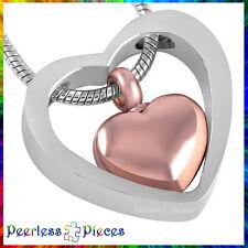 Peerless Pieces Urn Necklace Cremation Keepsake Stainless Steel Copper Heart #76