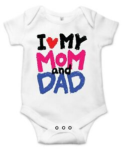 --Cute /& Funny Custom Made Great Shower Gift I love my two Dads Money Back Guaranteed. Boutique quality baby bodysuit onesie Set