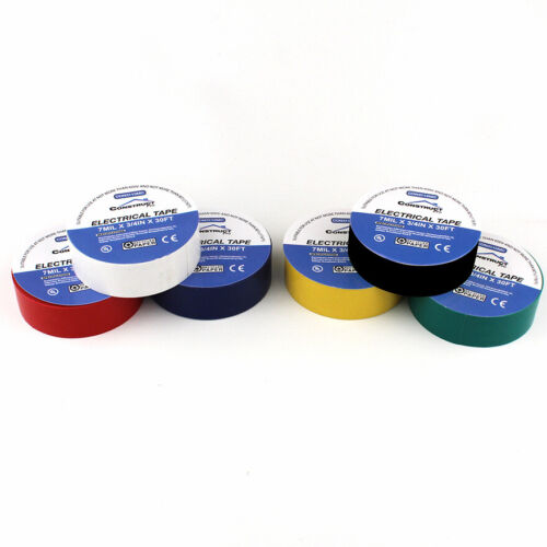 Pack of 6 Multi-Color 3//4in x 30ft UL-Listed Electrical Tape