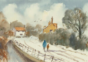 John-A-Case-Set-of-Two-Contemporary-Watercolours-Winter-Landscapes