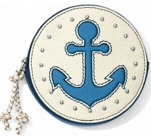 NWT Brighton INDIGO BLUES Mini Coin Purse Nautical Blue Anchor Leather MSRP $68