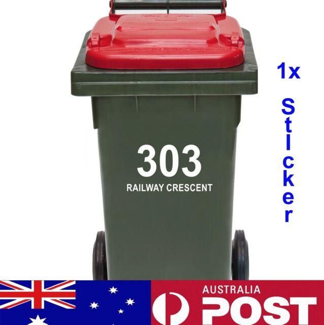 Rubbish Bin Sticker house number street name Decal Garbage wheelie bin sign