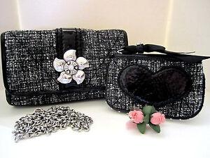Brighton-034-CHLOE-034-Black-Tweed-Fabric-Patent-Clutch-Coin-Purse-Set-MSR-190-NWT
