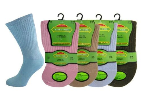 6 Ladies Diabetic EXTRA-WIDE Cotton Rich Wider Top Socks UK 4-8