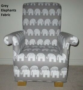 Attractive Image Is Loading Grey Elephants Fabric Child 039 S Chair Nursery