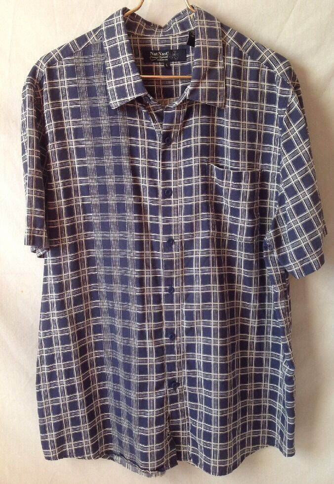 Nat Nast Luxury Originals Short Sleeve Shirt Button Front bluee Silk Blend Large