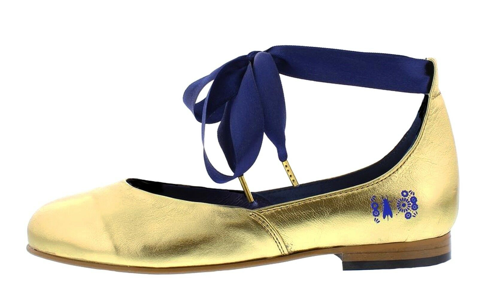 Fly London NEW Cristina Rodrigues Dwell 02 Gold leather ankle strap schuhe 3-9