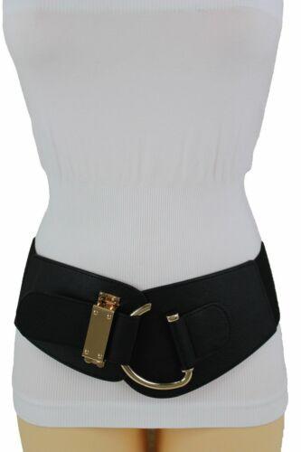 Fancy Women Wide Black Dressy Fabric Wide Weekend Belt Hook Metal Buckle S M