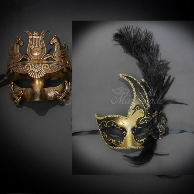 His /& Hers Masquerade Mask for Couple Pair Gold Metallic Mask Feather Mask