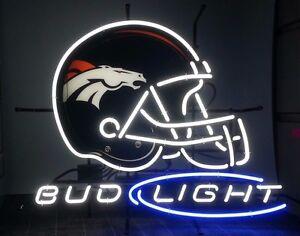 Details About New Bud Light Denver Broncos Beer Neon Sign 20 X16