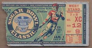 1952-Sugar-Bowl-football-ticket-Maryland-Terrapins-vs-Tennessee-Volunteers