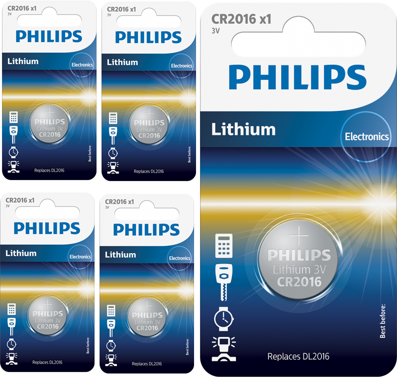 US BS024-5x Philips CR2016 lithium button cell battery 5 Pieces