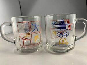 4 McDonalds 1984 Olympic Coffee Cups Mugs Clear Glass