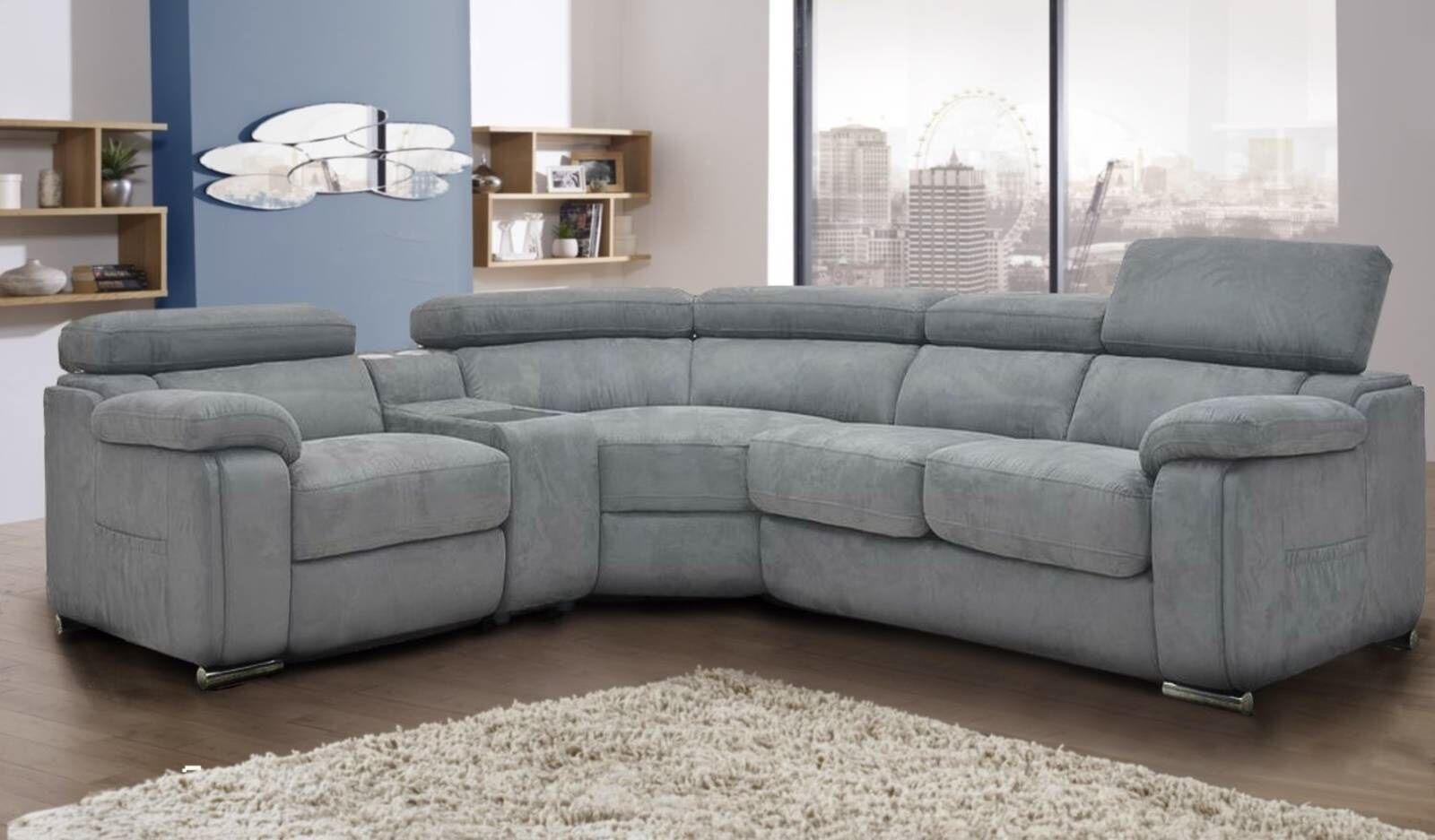 dakota grey fabric corner sofa left hand ebay. Black Bedroom Furniture Sets. Home Design Ideas