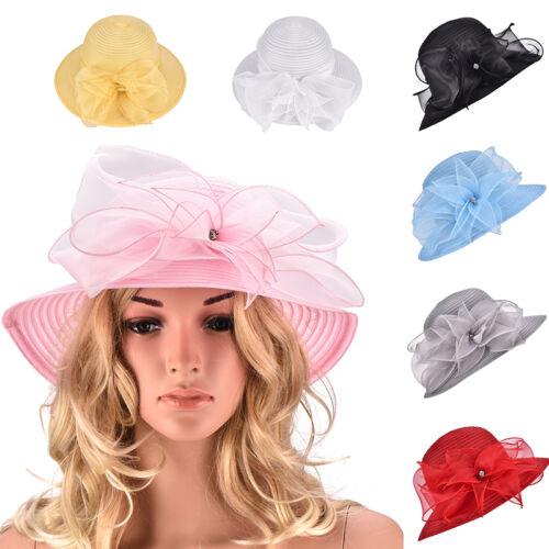 Women Wide Brim Dress Church Wedding Kentucky Derby Party Floral Sun Hat A323