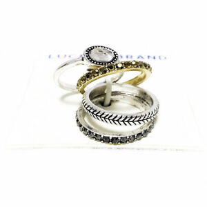 Lucky-Brand-Antiqued-Two-Tone-Organic-Crystal-amp-Pave-Stone-Stack-Ring-Set