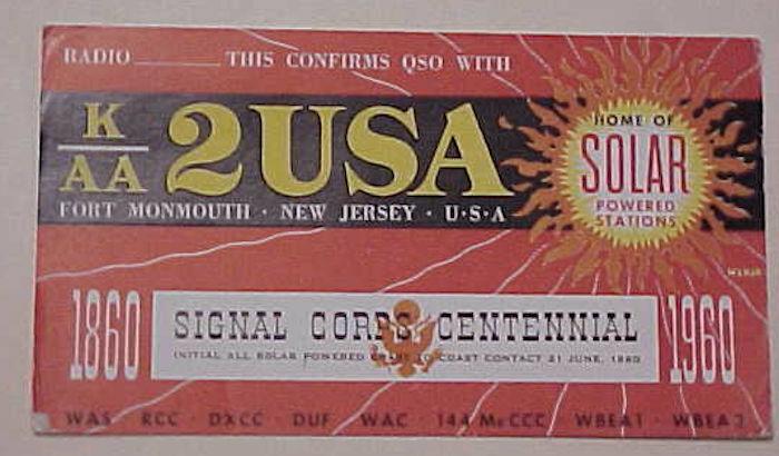 US SOLAR POWER 1960 RADIO CARD FORT MONMOUTH NJ